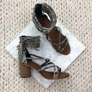 Jeffrey Campbell Despina Snakeskin Heeled Sandals